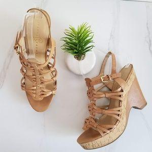 Ivanka Trump Tan Leather Wedge Cork Heels Sandals